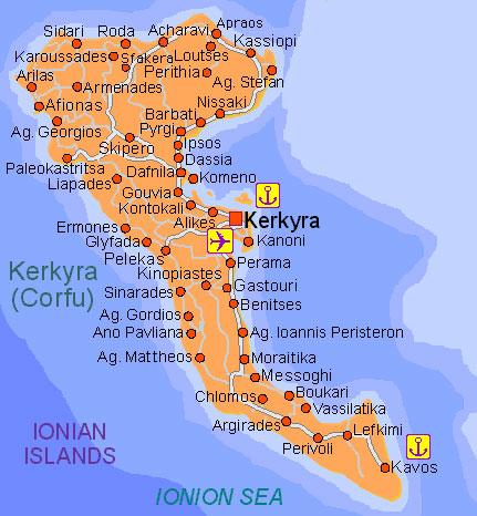 Recko Kompletni Pruvodce Corfu Korfu Mapy Ostrova